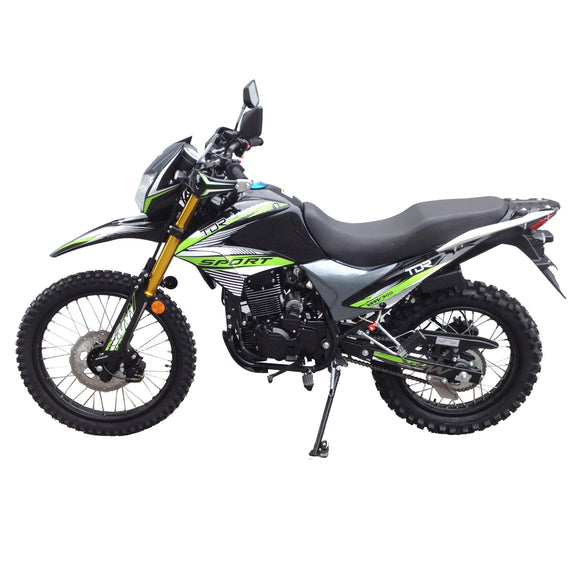 Green - TDR 300cc Motocross Motorcycle Off-Road Dirt Pit Farm Bike, 1-Cylinder, 4-Stroke Oil-Cooled, Electric / Kick Start