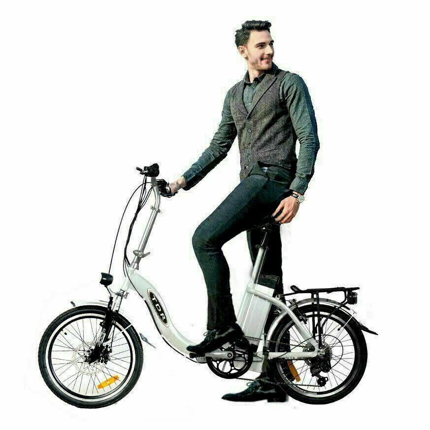 "TDR 20"" Step-Through Pedal-Assist Folding Ebike - White"