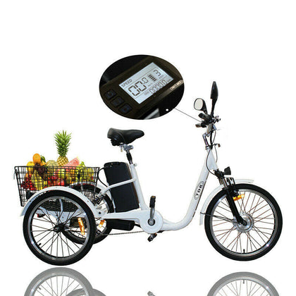 TDR White Electric Tricycle 48V 250W 10AH with Basket