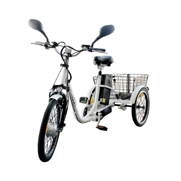 White 250W 48V 10AH  Electric Bike Tricycle Trike eBike Tour City Scooter Push Bicycle