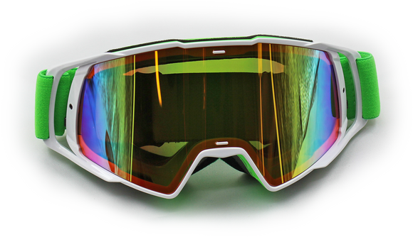 New MX Rainbow Changeable Lens Motocross Dirt Bike Ski Goggles - White