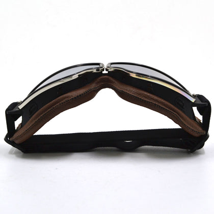 WWII Style German Motorcycle Harley Style Chopper Biker Pilot Goggles Brown