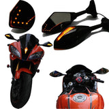 Motorcycle Side Mirrors + Led Indicators For Kawasaki Ninja 250R 2008-2011
