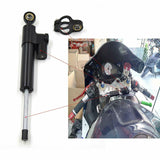 Black CNC Steering Damper Motorcycle Linear Stabilizer Reversed Safety Control