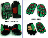 YOUTH MOTORBIKE RACING GLOVES - Green, L