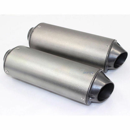 Silver Big Bore Dual Exhaust Muffler CRF50 STYLE Atomik Pitpro Thumpstar DHZ