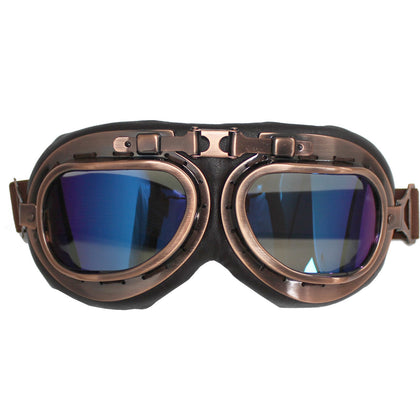 RED BARON PILOT AVIATOR FLYING GOGGLES - VINTAGE MOTORCYCLE CAFE RACER - Golden