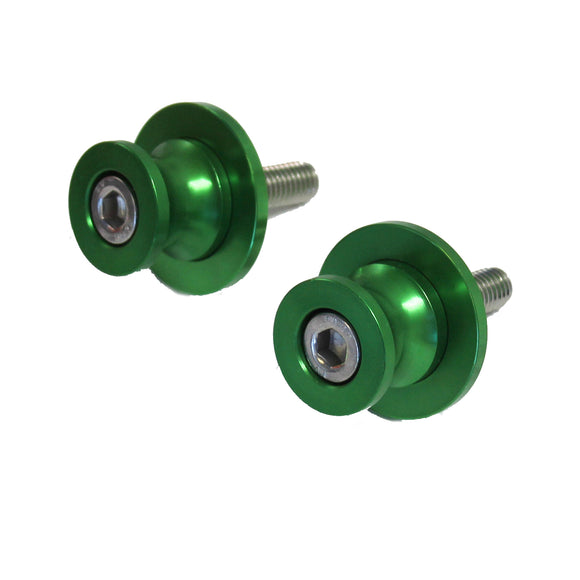NEW 8 MM Rear Swingarm Motorcycle Spool Sliders Swing Arm Stand Bobbins - Green