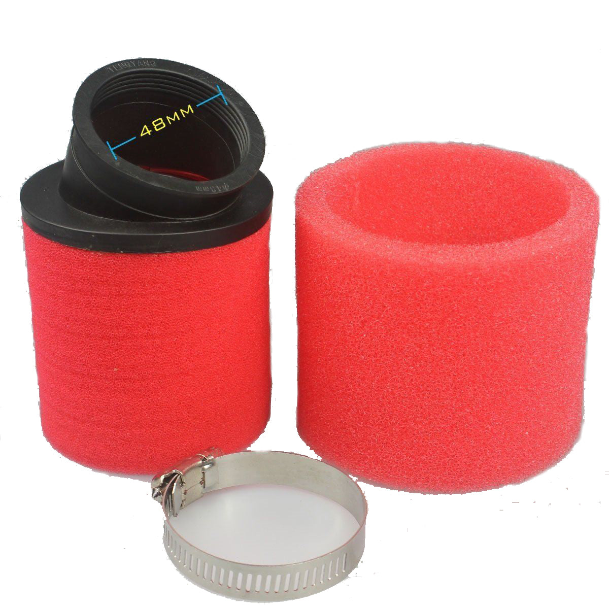 48mm Dual Foam Pod Air Filter Angled Fitting for Dirt Bikes/Quad Bikes/ATV Buggy