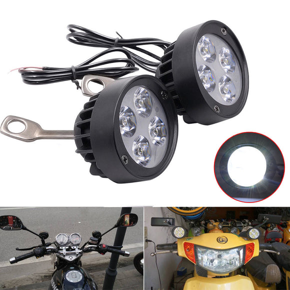 2x 4 LED Motorcycle Mirror Mount LED Driving Headlight Fog Spot Light Spotlight