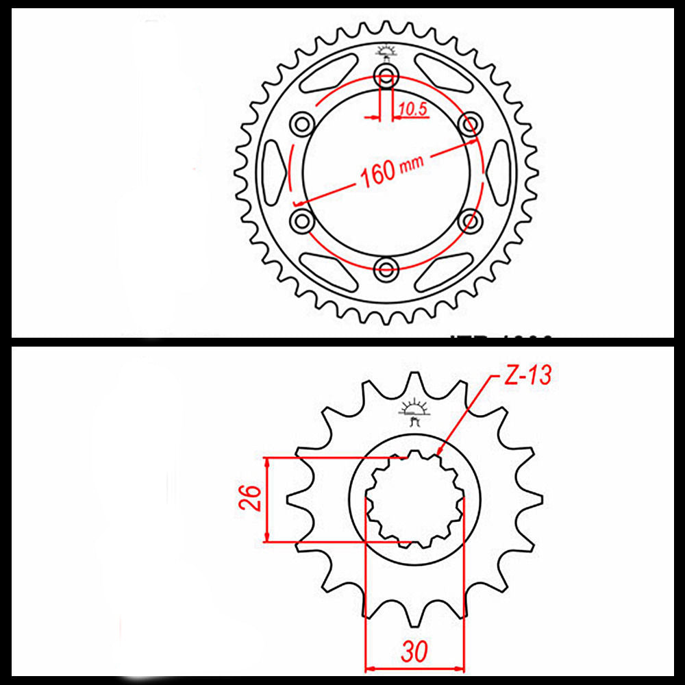 Motorcycle 530 Chain Front Rear Sprockets For Honda