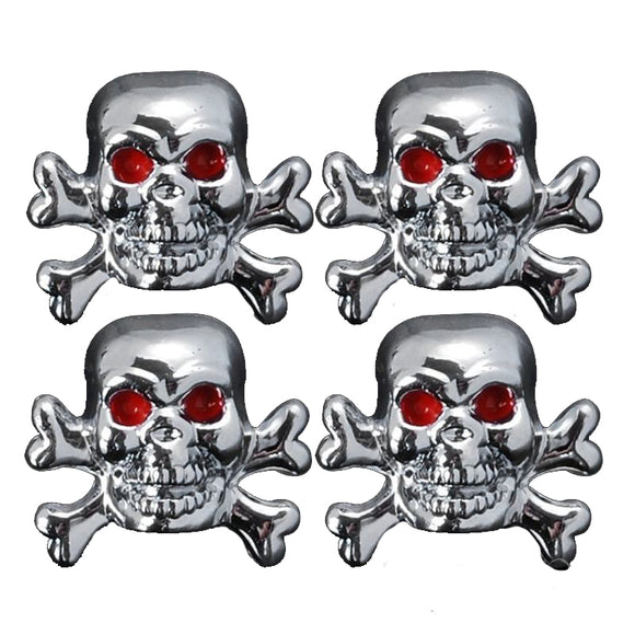 4X Evil Skull Tyre Tire Air Valve Wheel Stem Dust Cover Caps For Car Bike Truck