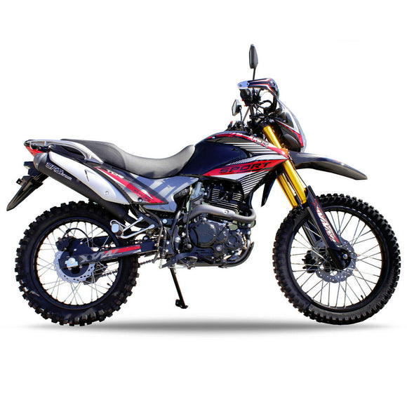 Red - TDR 300cc Motocross Motorcycle Off-Road Dirt Pit Farm Bike, 1-Cylinder, 4-Stroke Oil-Cooled, Electric / Kick Start