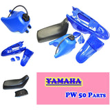 FOR YAMAHA PEEWEE PW50 PY50 PLASTIC FENDER KIT & FUEL TANK (BLUE) + SEAT (BLACK)