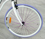 700C Fixie Single-Speed Step-Through Bike - White Frame & Purple Tyre Spoke Bull Horn Bar