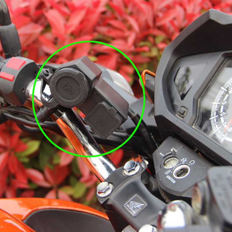 12V Car ATV Dirt Bike Motorcycle Cigarette Lighter Socket USB Power Plug Outlet