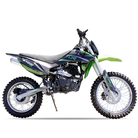 GREEN - TDR 200cc Motocross Motorcycle Dirt Pit Bike, 1-Cylinder, 4-Stroke Air-Cooled, Electric / Kick Start