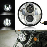 5.75 Inch Round Silver LED Headlight Hi/Lo Motorcycle Hi/Lo Projector For Harley