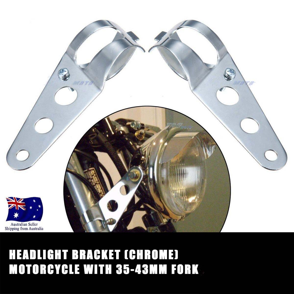 Chrome Headlight Mount Bracket For Motorcycles Fork Ear Bobber Racer 35mm-43mm