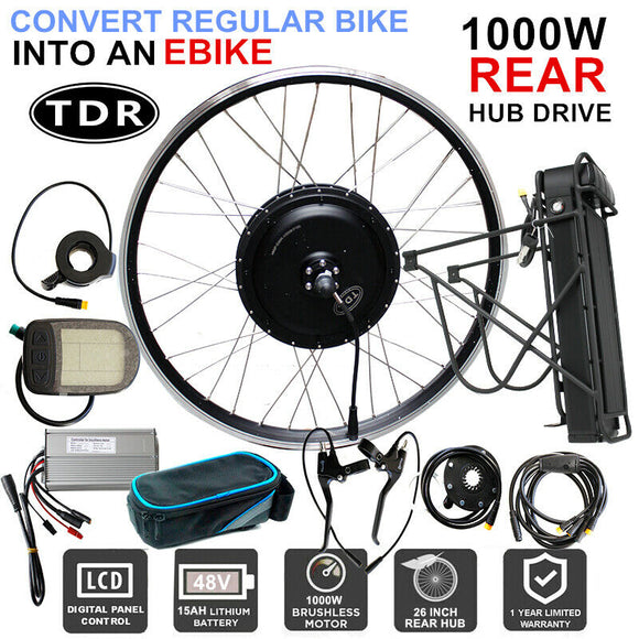 48V 1000W 15AH Electric Bike Conversion Kit - 26