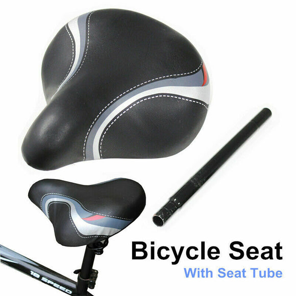 Unisex Large Bum Bike Bicycle Cycling Sprung Seat Saddle with Seat Post Pillar