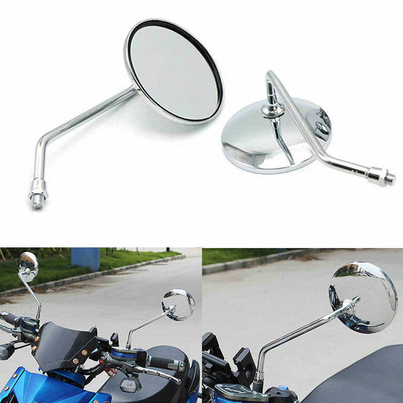 8MM CHROME MOTORCYCLE SCOOTER MIRRORS CUSTOM ROUND HONDA KTM SYM REARVIEW MIRROR