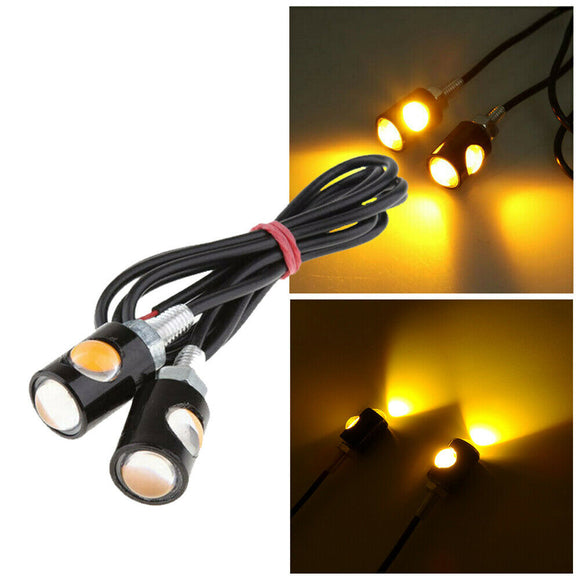 2 x Yellow LED Motorcycle Car Number License Plate Screw Bolt Light Lamp Bulb