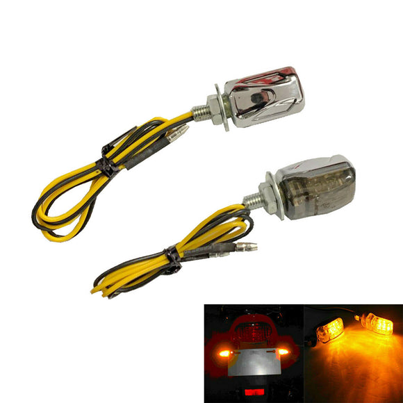 Chrome 2 x 6mm Universal Motorcycle LED Micro Mini Tiny Small Indicators Turn Signals