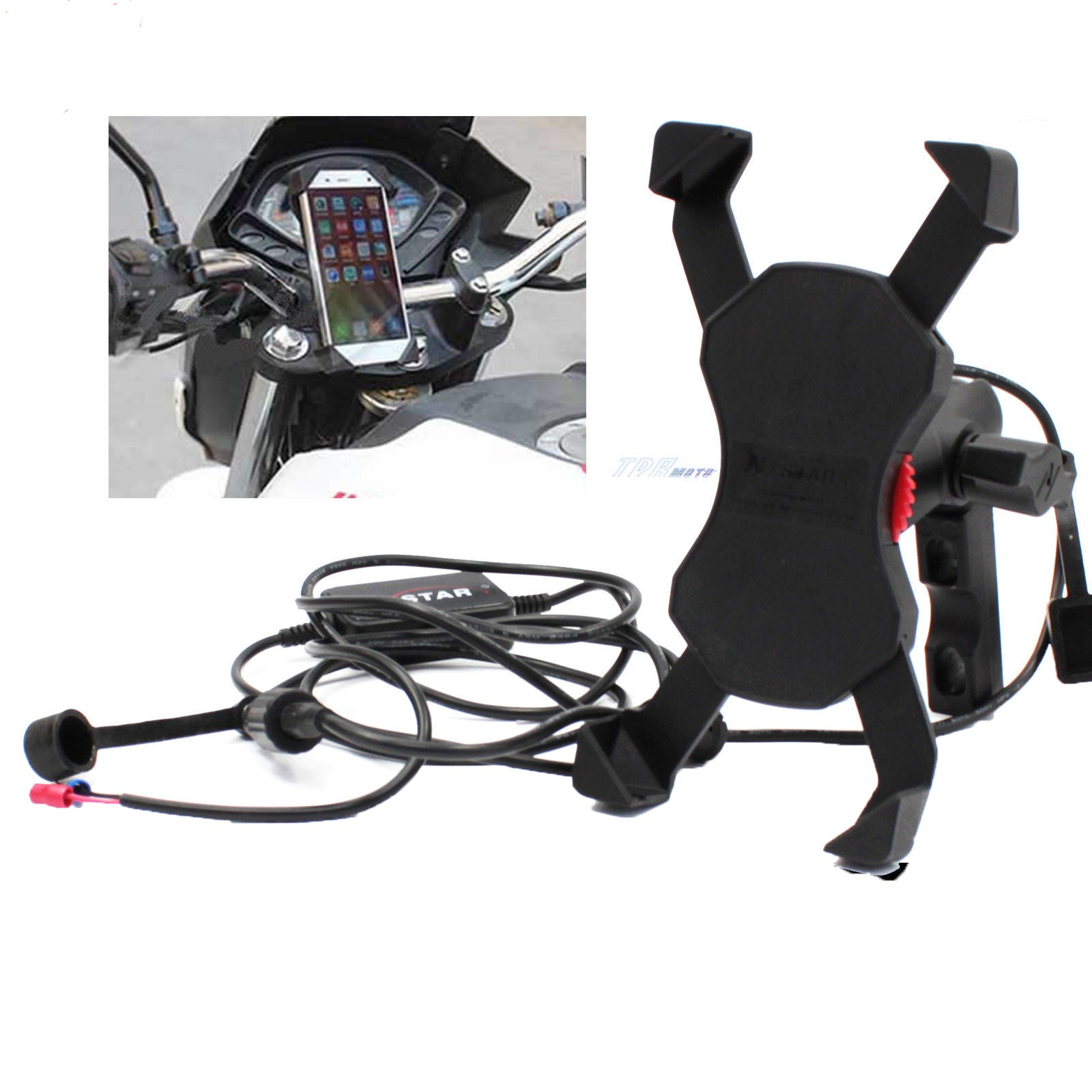 X-Bracket Motorcycle Bike Lever Mount Cellphone Holder USB Charger Cell Phone