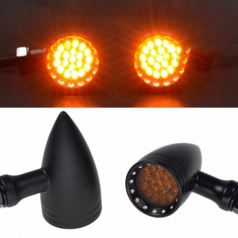 Quality Black Aluminium Bullet LED Motorbike Indicators Turn Signals Universal