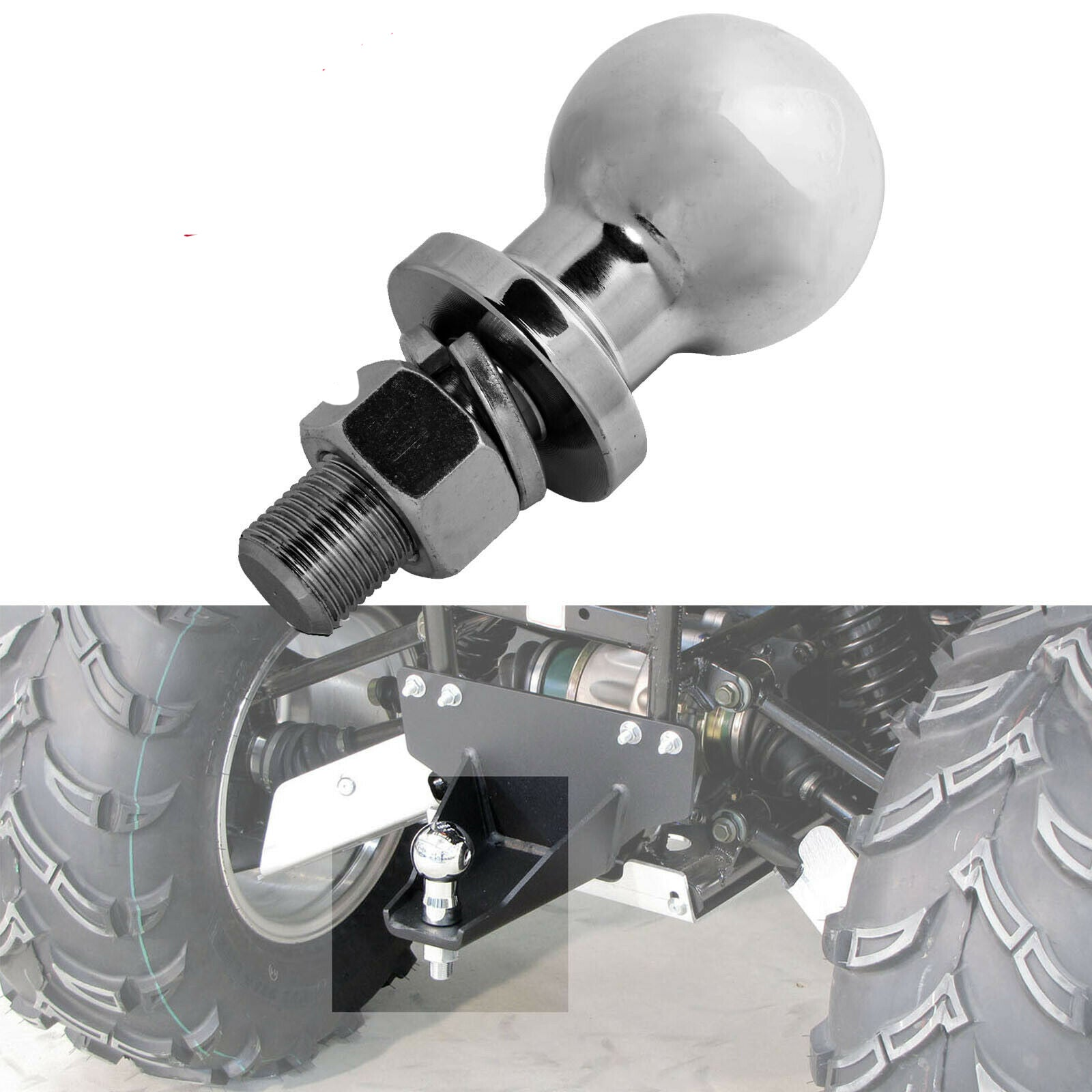Tow Ball 50mm Heavy Duty Trailer Hitch Towball Chrome for Off-road Quad ATV