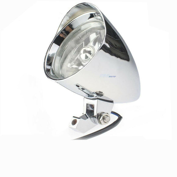 Motorcycle Bullet Chrome Headlight Light For Harley Davidson Choppers Silver 4.5