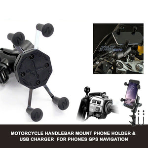 Adjustable Cell Phone GPS Holder Motorcycle Handlebar Mount 5V 1.5A USB Charger