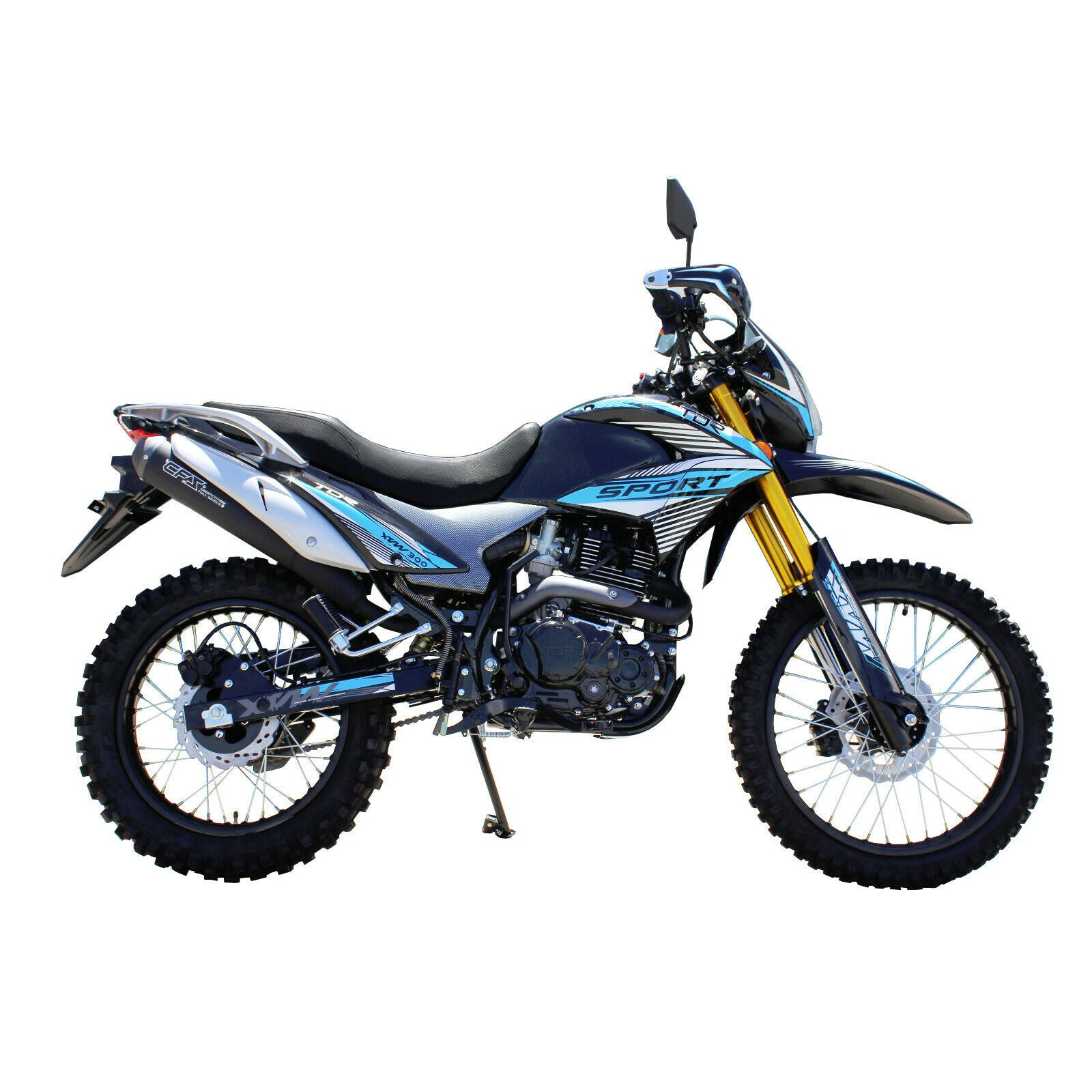 Blue - TDR 300cc AG BIKE Motocross Motorcycle Off-Road Dirt Pit Farm Bike, 1-Cylinder, 4-Stroke Oil-Cooled, Electric / Kick Start (Tax Invoice Included)