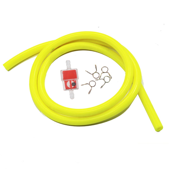 Motorcycle Petrol Hose Fuel Line + inline fuel filter ATV Quad Dirt PIT Bike YEL