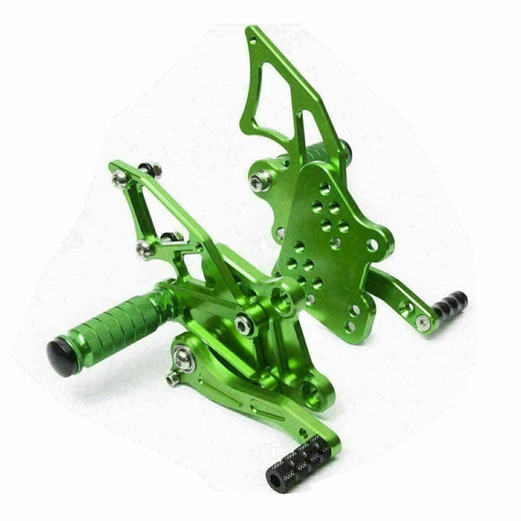Rearset Rear Set Footpegs Fit Kawasaki Ninja 300 2013 Adjustable Foot Pegs Green