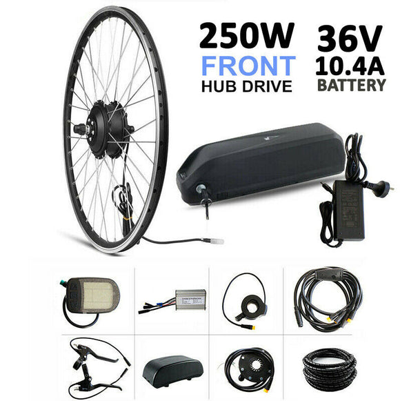 36V 250W DIY Electric Bike 26'' Wheel Hub Motor Rim Drive Front Conversion Kit