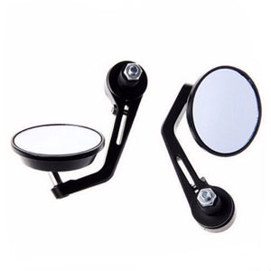 "Round Universal Black Motorcycle 7/8"" Bar End Rear Side View Mirrors Cafe Racer"