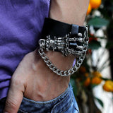 Gothic Cool Men's Punk Biker Skull Ghost Hand Cuff Leather Bracelet Wristband