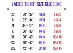 Ladies Tee Size Guidelines