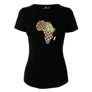 Ladies Vibrant Africa Map Heritage T/Shirt