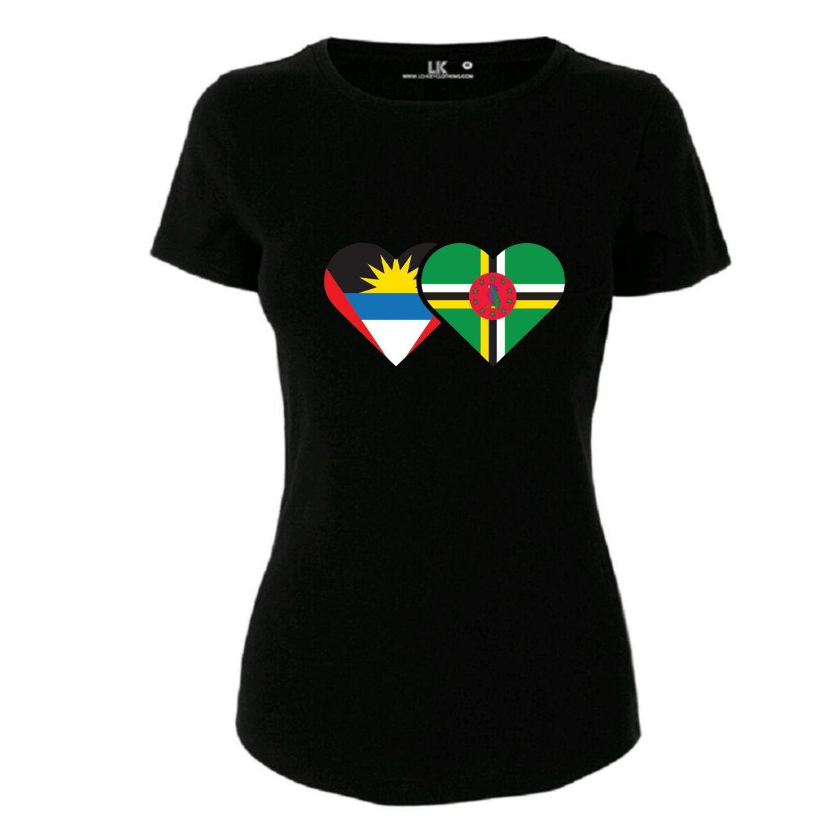 Ladies Antigua and Barbuda and Dominica Heart Flag T/Shirt