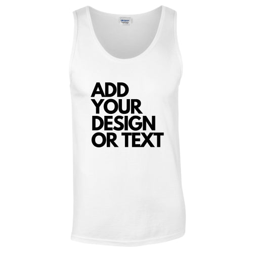 Men's Add Your Design Or Text Personalise Slogan Tank Top Vest