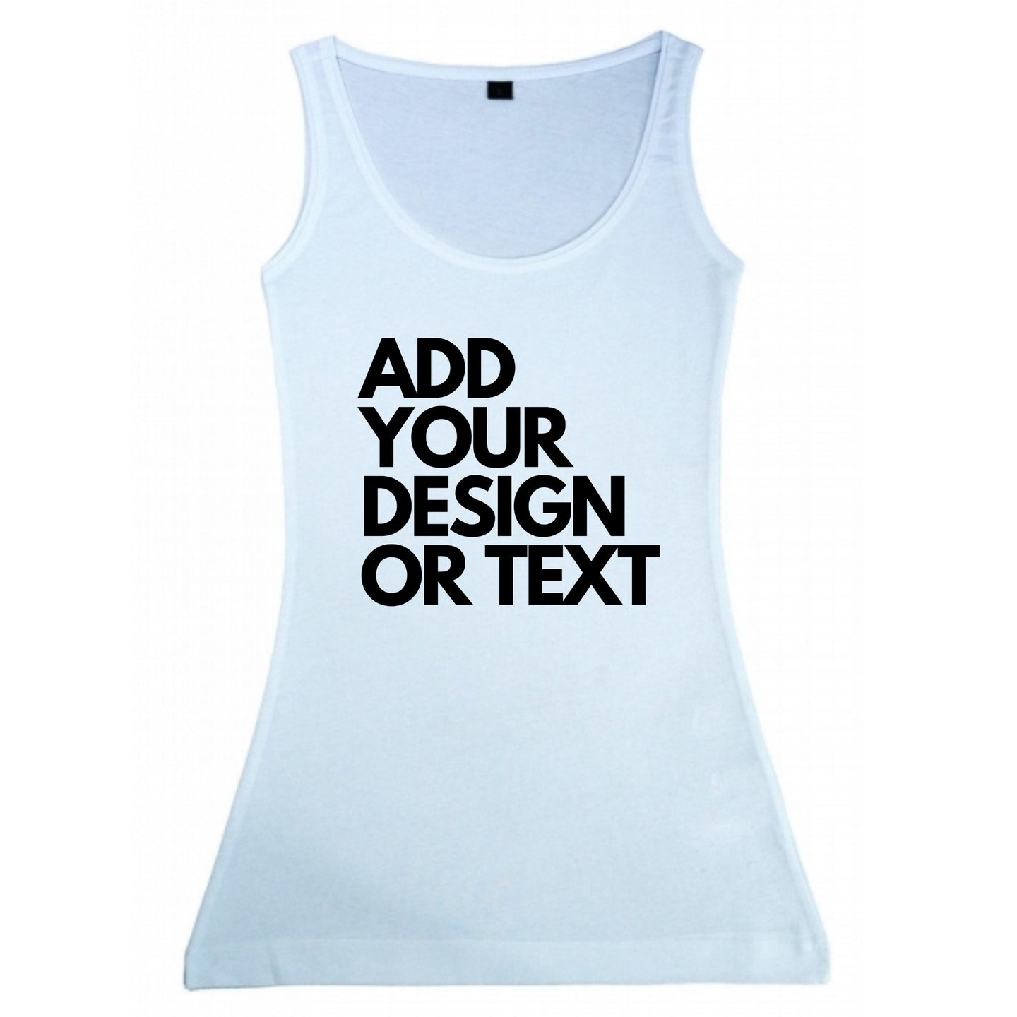 Women's Add Your Design Or Text Personalise Slogan Tank Top Vest