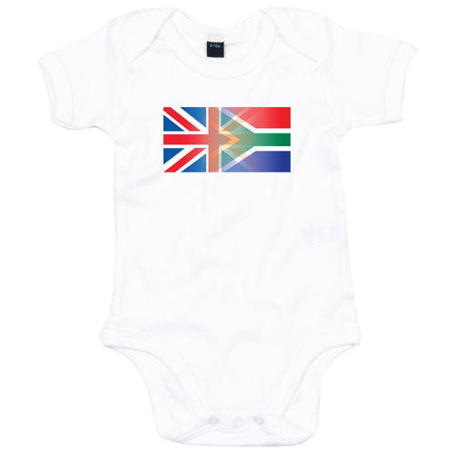 England and South Africa Mixed Heritage Flag Babygrow Organic Cotton