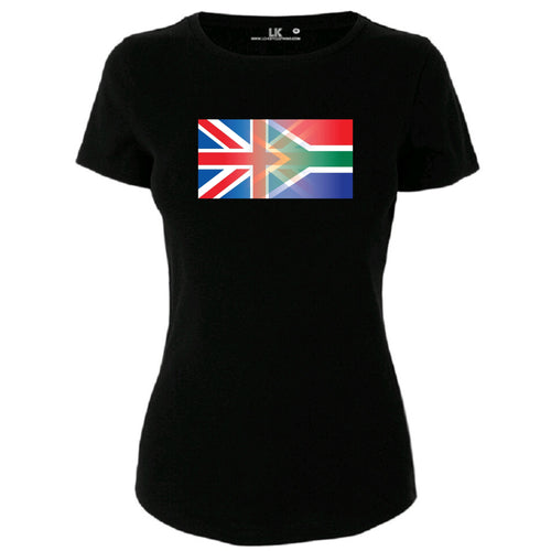 Ladies England and South Africa Mixed Heritage Flag T/Shirt
