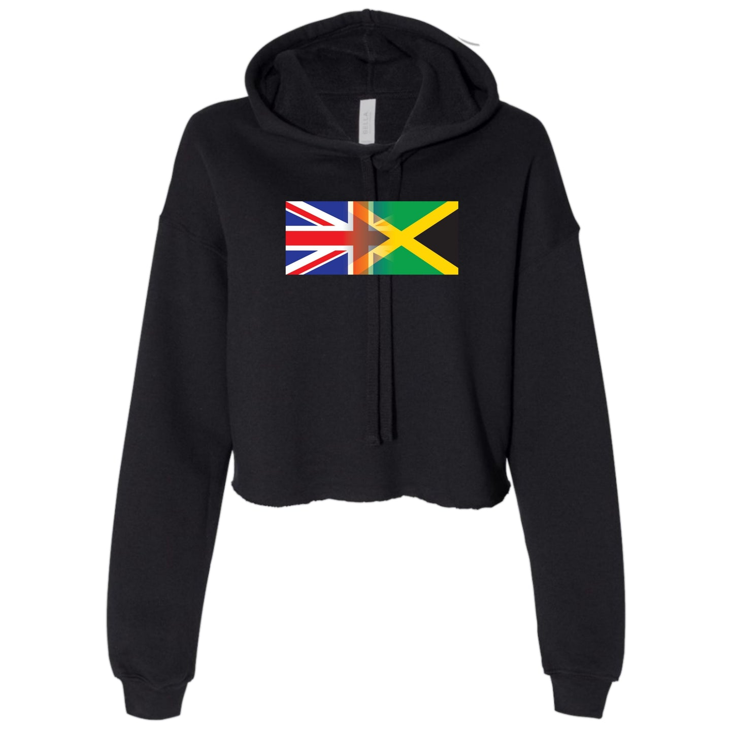 Ladies Personalised Mixed Heritage Flag Cropped Hooded Sweater