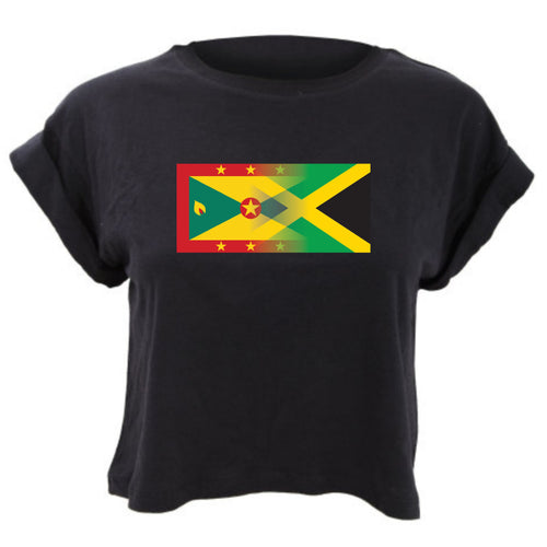 Personalise Mixed Heritage Flag Cropped TShirt Loose Fit