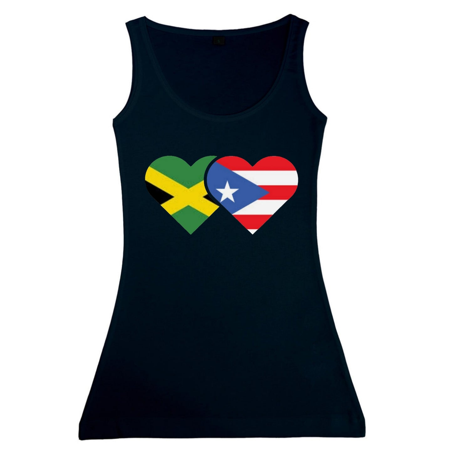 Women's Jamaican and Puerto Rican Flag Fitted Tank Top Vest
