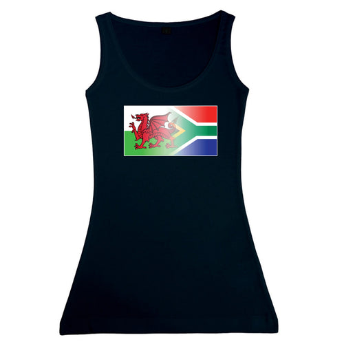 Ladies Welsh & South Africa Flag Blend Tank top